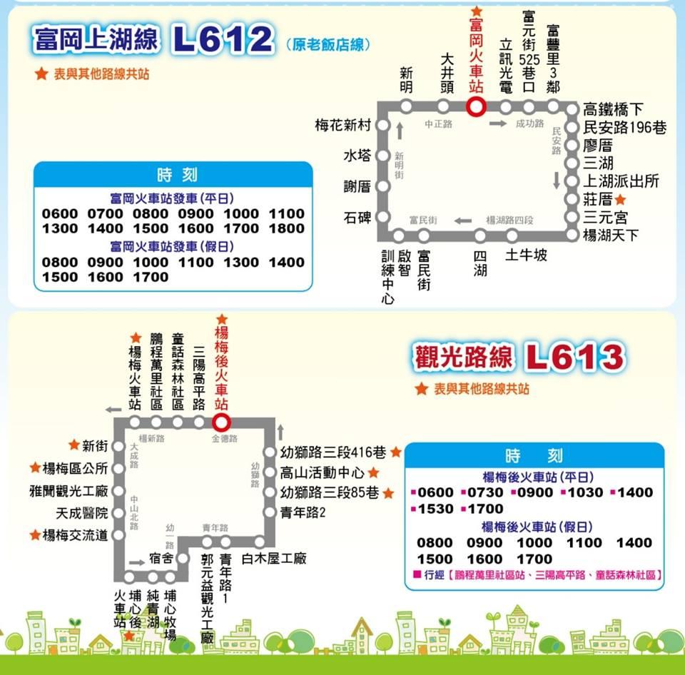 桃園花彩節楊梅場:富岡上湖線L612,觀光路線L613