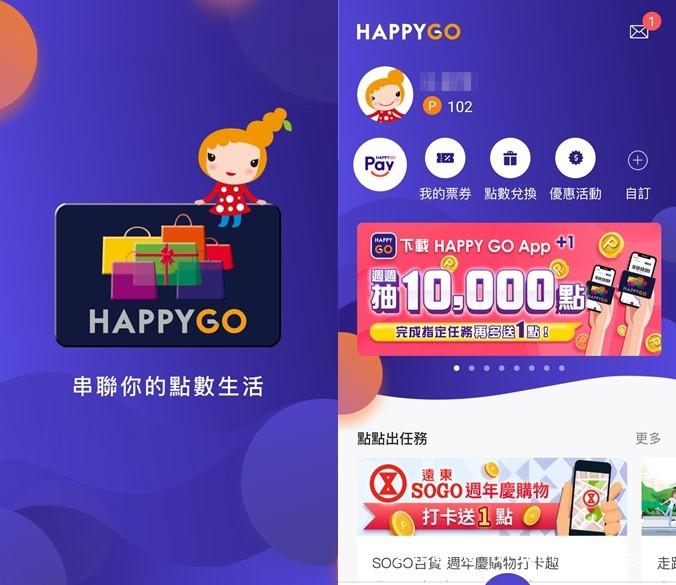 HAPPY GO App(強大的集點功能,可以折抵現金,遠百,SOGO,全家都可使用)